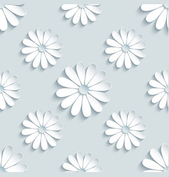 grey seamless pattern with decorative 3d chamomile vector image vector image