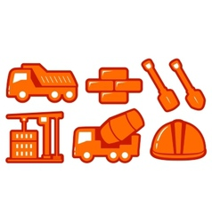 Isolated construction yellow objects vector
