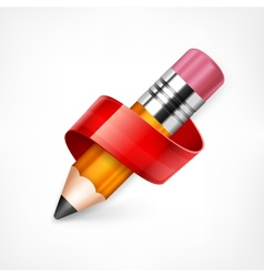 Pencil with red ribbon vector image