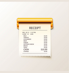 print receipt cash on white background vector image