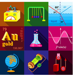 scientific experience icons set flat style vector image