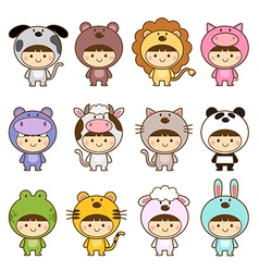 Set of kids in cute animals costumes vector image vector image