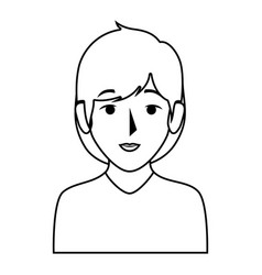 silhouette half body woman with short hair vector image vector image