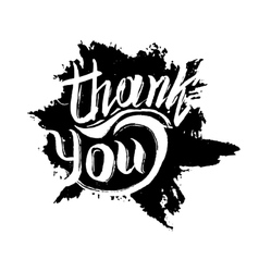 Thank you ink hand drawn lettering vector image vector image