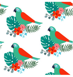 tropical jungle seamless pattern with parrot bird vector image