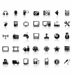 video and audio icon set vector image vector image