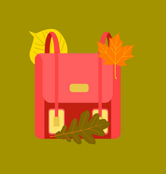 Flat icon on stylish background school bag leaves vector