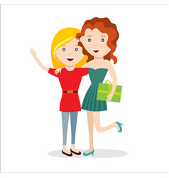 girls with gift happy jump friends vector image