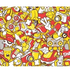 Graffiti seamless pattern with line icons collage vector