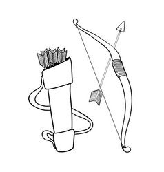 Hand drawn arrows bow and case- vector
