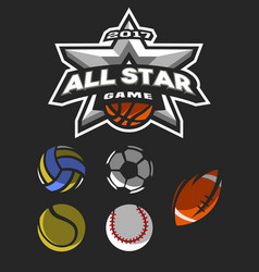 All star game logo emblem vector