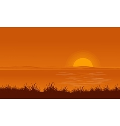 At sunset lake scenery backgrounds vector