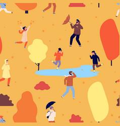 autumn season pattern people walking in park vector image