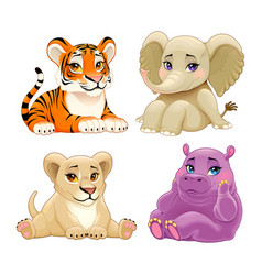 Bajungle animals with cute eyes vector