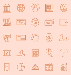 Banking line icons on orange background vector image