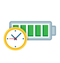 battery life clock icon vector image