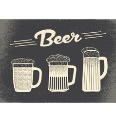 Beer set Vintage sketch and old paper texture vector
