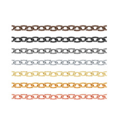 Big collection different metal chain seamless vector