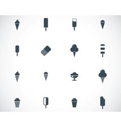 black ice cream icons set vector image