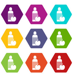 bottle of water and apple icon set color vector image