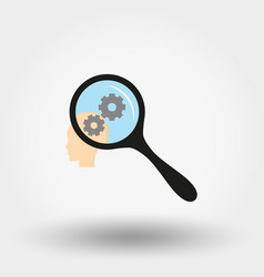 brain activity under magnifying glass icon vector image