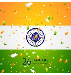 Bright confetti on Indian flag background vector