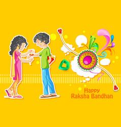 Brother and sister tying rakhi on raksha bandhan vector