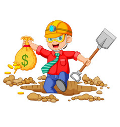 Businessman mining to find bitcoins vector