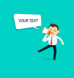 Businessman with megaphone and speech text vector