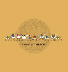 Camels caravan sketch for your design vector