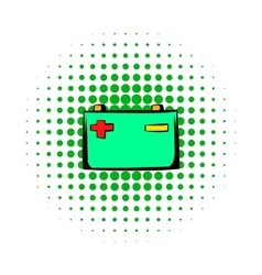 Car battery comics icon vector