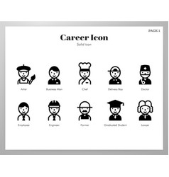 Career icons solid pack vector