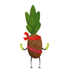 Cartoon superhero pineapple fruit in mask and vector