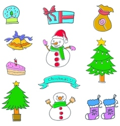 Christmas and winter set doodle vector image