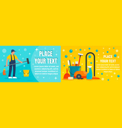 Cleaner equipment banner set flat style vector