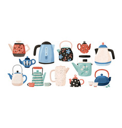 collection teapots and kettles isolated on vector image