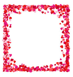 Corolful red paper heart frame background vector