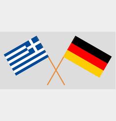 Crossed greek and german flags vector