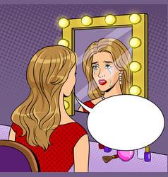 crying actress woman near mirror pop art vector image