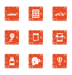 Cyber instruction icons set grunge style vector