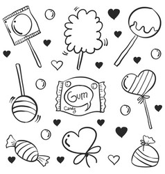 Doodle of candy various hand draw collection vector