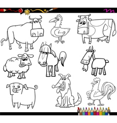 Farm animals coloring bookd set vector