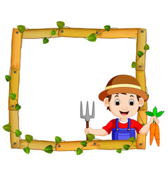 farmer on the wood frame with roots and leaf vector image