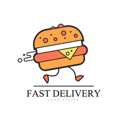 fast delivery logo design food service delivery vector image