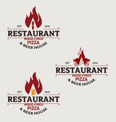 fire wood pizza restaurant logo set vector image
