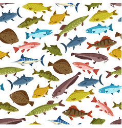 Fish seafood seamless pattern background design vector