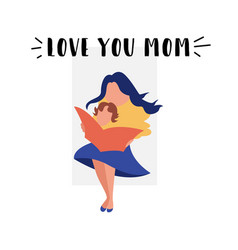 Flat banner love my mom young mother vector