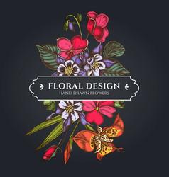 Floral bouquet dark design with impatiens vector