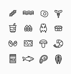 food line icons set main types protein source vector image