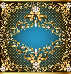 Frame background with gold pattern by net and bow vector